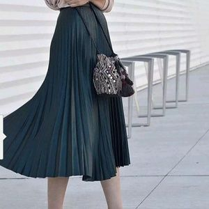 Zara Woman Finely Pleated Semi Long Pleated Skirt